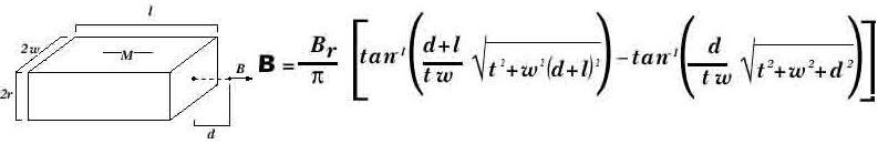 Расчет магнитной индукции                                         для призматических магнитов
